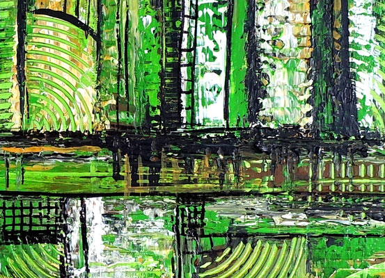 Wohnzimmerbild Leinwandbild Wandbild abstrakt grün Malerei Gemälde
