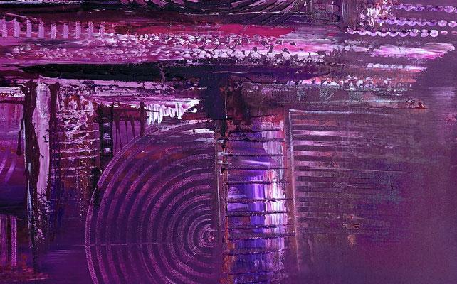 Lila City abstrakte Malerei Wandbild Acrylbild Moderne Kunst Original