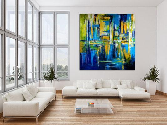 Abstraktes Wandbild XXL 180x180 Gemälde Büro Unternehmen Praxis handgemaltes Unikat