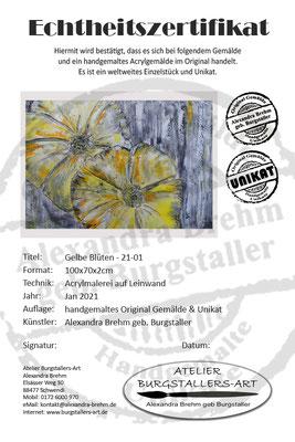 Wandbild WohnzimmerbildBlüten gelb grau