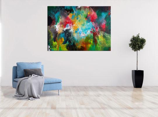 Morgentau abstrakte Malerei buntes Acrylbild Original Gemälde XXL Wandbild Leinwandbild 116x81