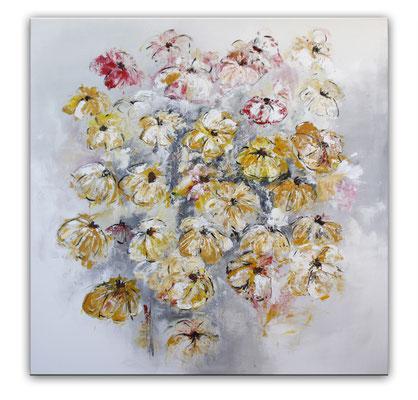 Blumenbild zweiteilig abstrakt xxl grau rot gelb - Blumen Gemälde links