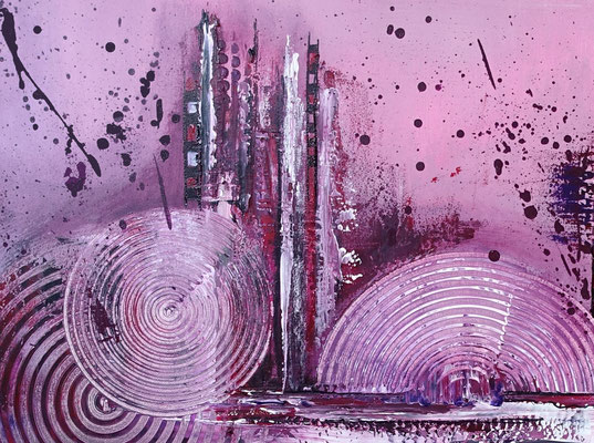 Lila City 3 abstrakte Malerei Wandbild Acrylbild Moderne Kunst Original Gemälde