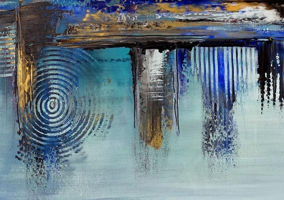 Hafenstadt abstrakte Malerei blau gold Wandbild Acrylbild Künstler