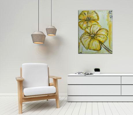 Zwei gelbe Blüten handgemaltes Blumenbild Blumen Malerei Acryl