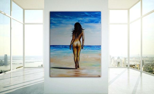 Strandspaziergang nackte Frau Strand gemalt Kunst Malerei Erotik Leinwandbild