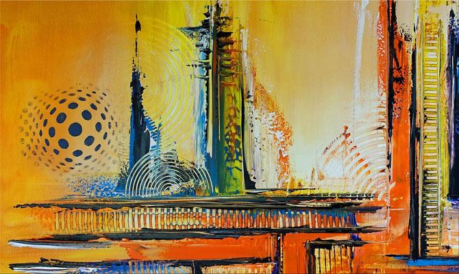 Abstraktes Wandbild XXL zweiteilig orange blau Original Gemälde Acrylbild Foyer