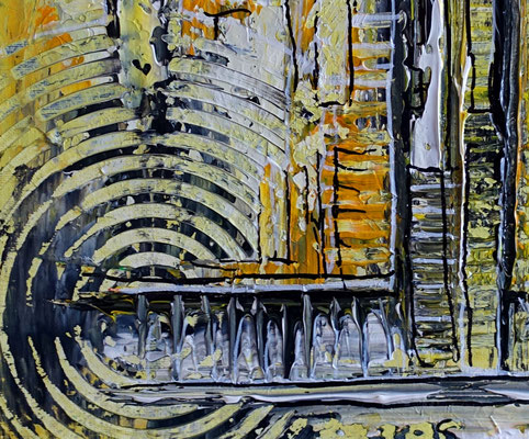Abstraktes Wandbild gelb grau Acryl Gemälde Unikat Kunstbild