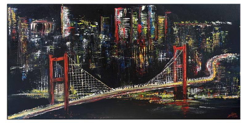 Istanbul at Night - 120x60cm - Modernes Städte Gemälde Acrylbild