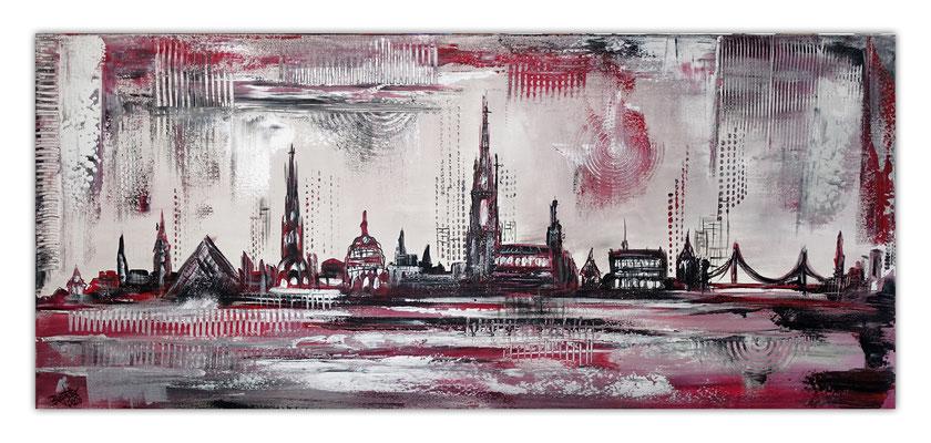 Skyline Ulm Münster RAthaus abstrakt gemaltes Wandbild Leinwand bild