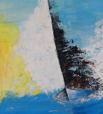 Feuersegler 80x80 Wandbild Segelboote Regatta Maritim abstrakt Kunstbild