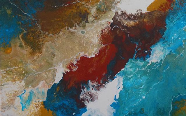 Delta abstraktes Leinwandbild Wandbild blau braun Original Acrylbild