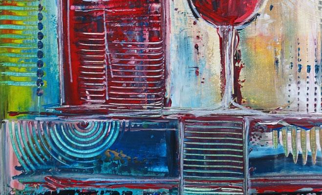 Weinglas Flasche abstrakte Malerei Gläser Rotwein Acrylbild 50x60
