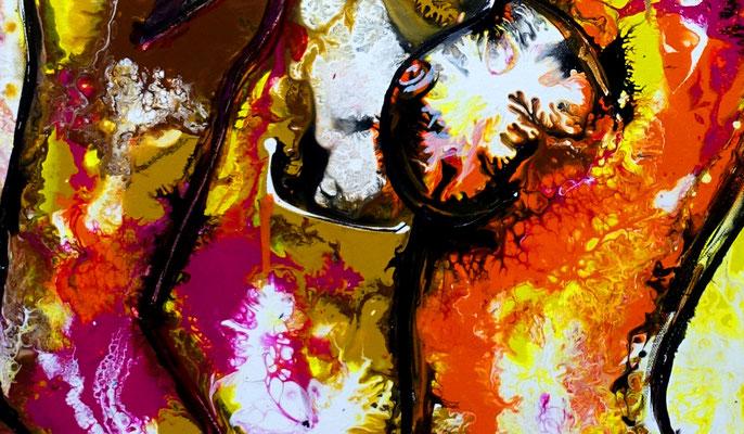 Zärtlichkeiten 07-2 Erotische Malerei Pouring Acrylbild Gemälde Erotik Kunst