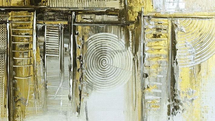 Goldenes Chaos abstraktes Acrylbild Kunstbild Silber Gold Acryl gemälde