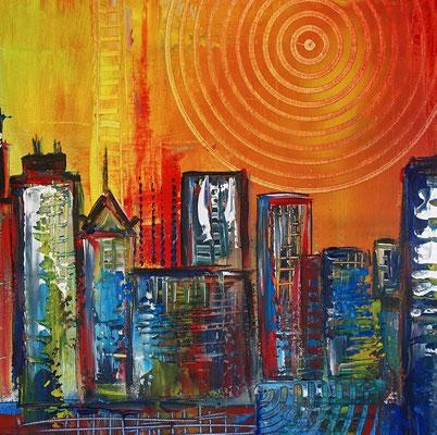 Sydney Skyline 2 abstrakt gemalt Oper Stadtbild Malerei Original