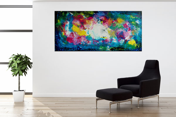 Supernova 3 abstrakte Kunst Malerei Original Gemälde Leinwand Wandbild 70x145