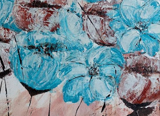 Blüten Blumen Malerei Acryl Gemälde Blüten Unikat Acrylbilder blau rose 50x100