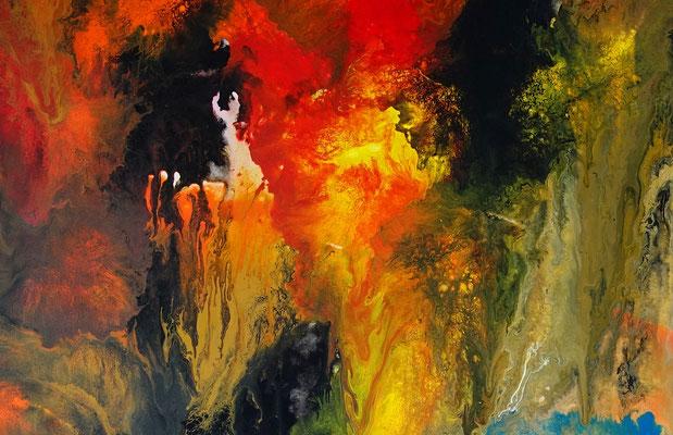 Höhlenreich abstraktes Wandbild XXL orange rot Kunst Bild Original Gemälde handgemalt
