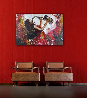 Saxophonistin querformat handgemaltes Musiker Bild Gemälde Saxophon Struktur