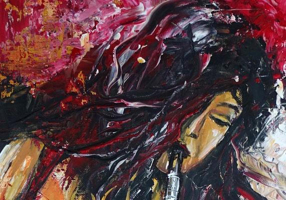Saxophonistin hochformat modernes Musiker Gemälde Saxophon gemalt