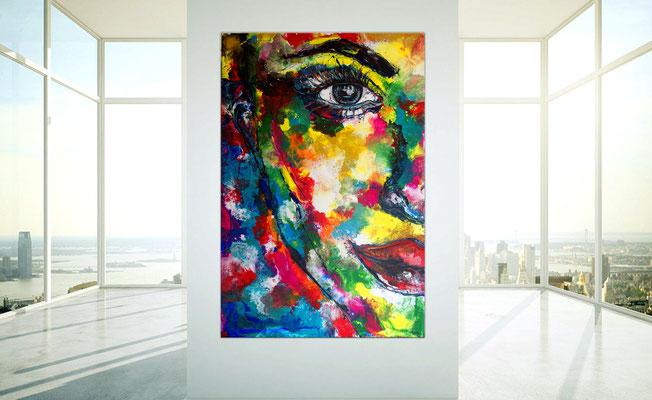 Abstrakte Gesicht Malerei 150x100 mit Gelb Portrait Fluid Art Gemälde