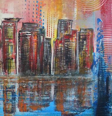 Singapur - Städtebild Gemälde Stadtbilder Malerei Skyline modernes