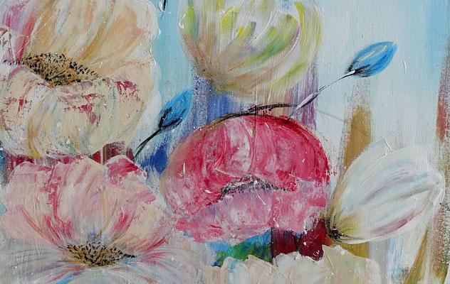 Pastellblumen Blüten Bild Wandbild handgemalt Blumen Malerei Acrylbild