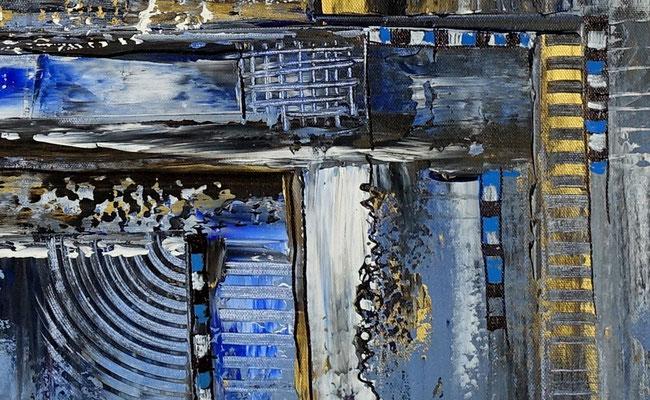 Diamont City 80x80 abstrakte Wandkunst Malerei Bild blau gold Gemälde