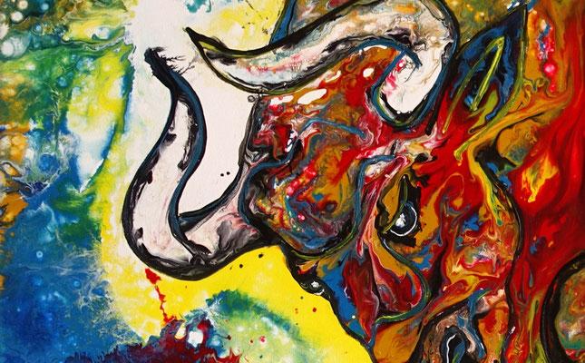 Diablo Wilder Stier Torro Bulle handgemalte Acrylbilder Wandbilder Moderne Tier