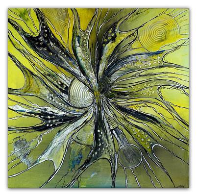 Expansion abstrakte Malerei Acrylbild Gemälde Kunst gelb grau abstrakt
