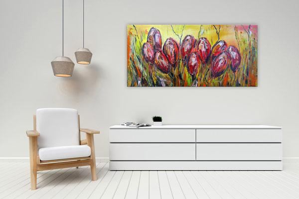 Tulpen BLumen Bild Wandbild Acrylbild Künstler Unikat handgemalt Original Gemälde