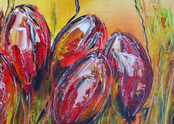 Tulpen BLumen Bild Wandbild Acrylbild Künstler Unikat handgemalt Original