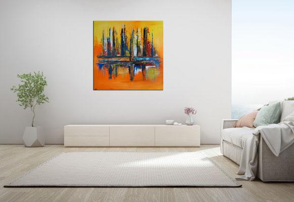 Oase abstraktes Leinwandbild orange blau modernes Kunstbild Büro Loft 100x100