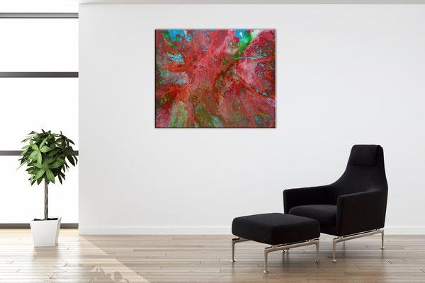 Abstrakte Malerei günstig Pouring Acryl Gemälde Unikat 40x50cm