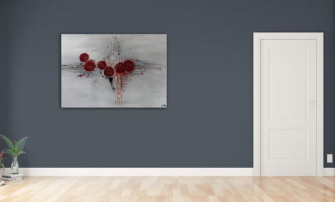 Struktur Rosen Wandbild handgemalt Acrylbild Original Leinwandbild 100x70