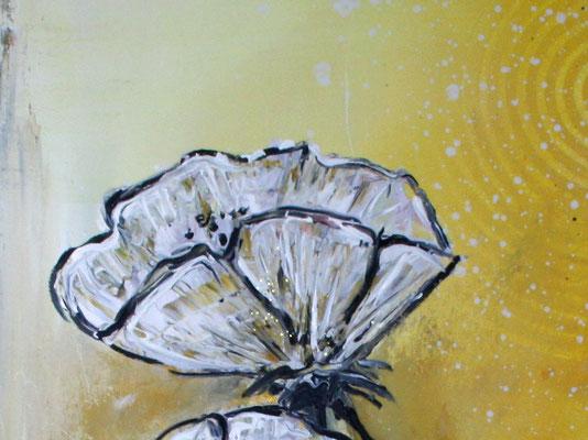 Mohnblumen im Sturm ocker grau weiß Blumenbild Malerei Gemälde Wandbild Blüten handgemalt
