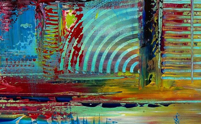 Rotwein Flasche Gläser abstrakt gemalt Acryl Malerei Gemälde Unikate