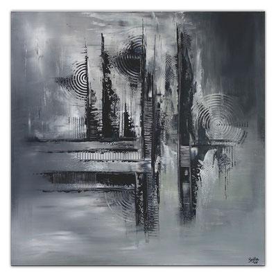 Mystic schwarz grau abstraktes Wandbild Leinwandbild Gemälde Unikate 100x100
