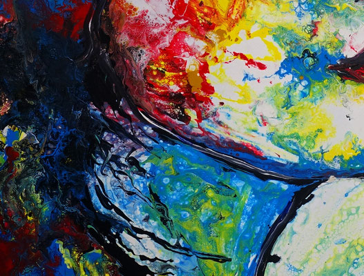 Wo bist Du Wandbild Porträt abstrakt gemalt Fluid Art Menschen Gesichter Malerei Moderne
