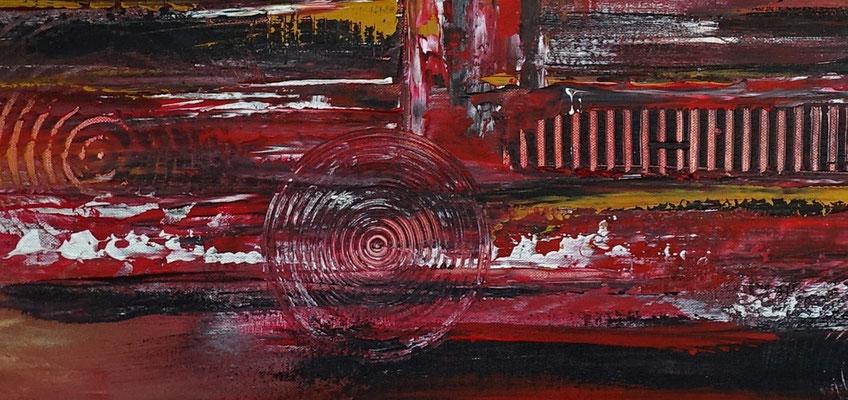 Denver abstrakte Skyline Leinwandbild rot Original Gemälde