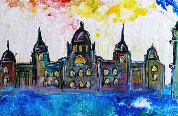 Barcelona Torre Glories Triumphbogen Montjuïc Malerei Gemälde Acryl Bild 100x50
