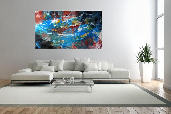 Amazonas abstraktes Leinwandbild Kunst Bild handgemalt Modern Acryl Gemälde querformat
