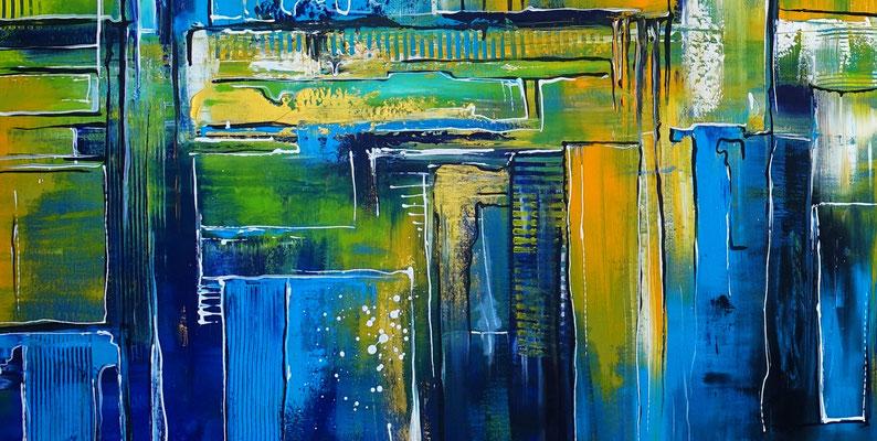 Abstraktes Wandbild XXL 180x180 abstrakte Malerei blau grün gelb gold Original Gemälde