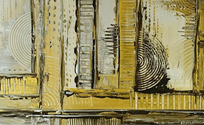 Goldenes Chaos abstraktes Acrylbild Kunstbild Silber Gold Acrylgemälde kaufen