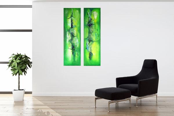 Wandbilder grün abstraktes Acrylgemälde zweiteilig hochformat 3+4
