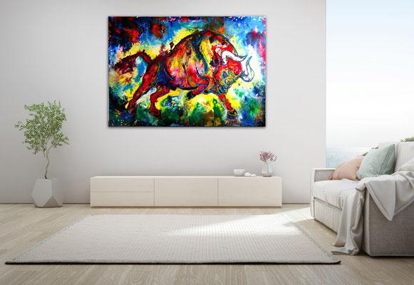 Huracan Wilder Stier Bulle Torro Leinwandbild handgemaltes Acrylbild Gemälde Unikat