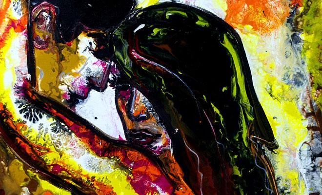 Zärtlichkeiten 07-2 Erotische Malerei Pouring Acrylbild Gemälde Erotik Kunst BIld