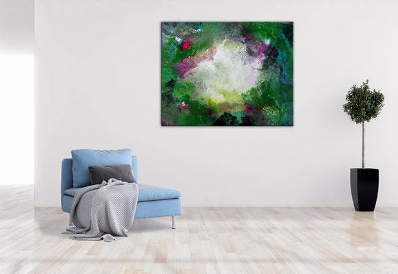 Erwachen Fluid Art Abstraktes Wandbild grün rosa Moderne Malerei Künstler Bilder handgemalt