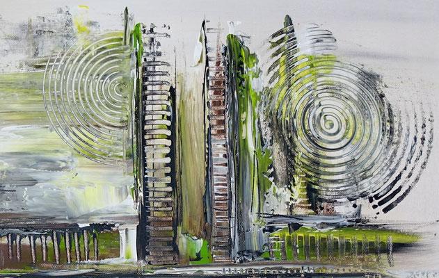 Sturm abstraktes Acrylgemälde Künstler Bild Unikat grau grün Unikat
